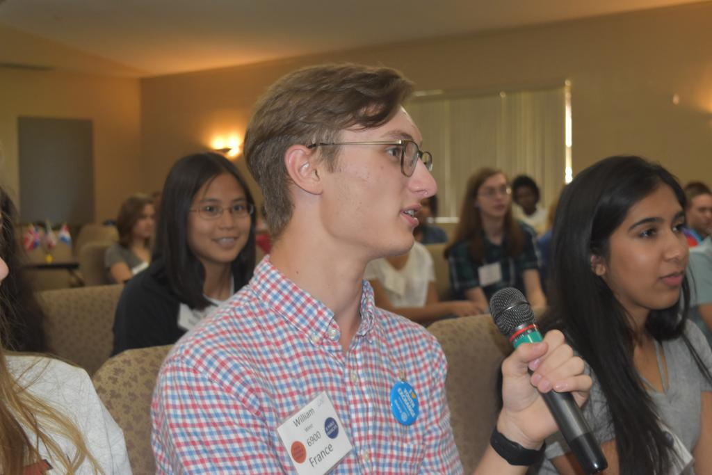 Granger West, of Walton High School, Outbound to France, sponsored by the Rotary Club of East Cobb, explains to the group what he has learned about ethnocentrism and ethno-relativism.