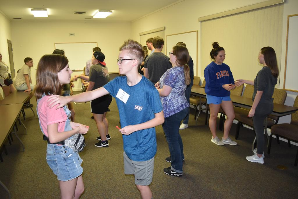 Alex Flanagan, of Riverwood International Charter School, Outbound to Japan, sponsored by the Rotary Club of Sandy Springs, practices newly learned cultural adaptation skills.