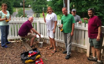 North Atlanta Rotarians Joan McGowan, Nathan Aberson, Kathy Monacelli, Pat Thomas, Kent Gipson and Fred Monancelli work hard to complete their IOH project before dark!